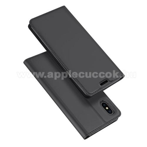 DUX DUCIS slim design notesz / mappa tok - SÖTÉT SZÜRKE - oldalra nyíló flip cover, asztali tartó funkció, szilikon belső, mágneses záródás - APPLE iPhone XS Max - GYÁRI