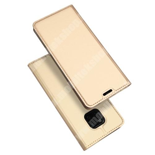 DUX DUCIS slim design notesz / mappa tok - ARANY - oldalra nyíló flip cover, asztali tartó funkció, szilikon belső, mágneses záródás - HUAWEI Mate 20 Pro - GYÁRI