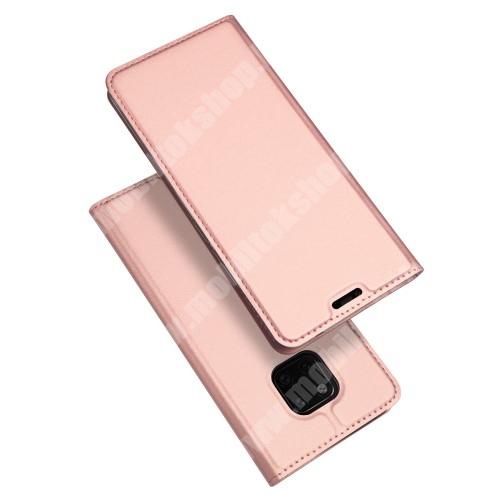 DUX DUCIS slim design notesz / mappa tok - ROSE GOLD - oldalra nyíló flip cover, asztali tartó funkció, szilikon belső, mágneses záródás - HUAWEI Mate 20 Pro - GYÁRI