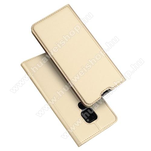 DUX DUCIS slim design notesz / mappa tok - ARANY - oldalra nyíló flip cover, asztali tartó funkció, szilikon belső, mágneses záródás - HUAWEI Mate 20 - GYÁRI