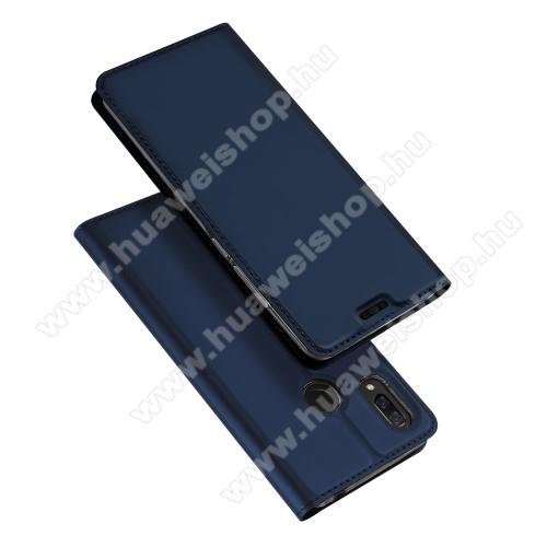 DUX DUCIS slim design notesz / mappa tok - SÖTÉTKÉK - oldalra nyíló flip cover, asztali tartó funkció, szilikon belső, mágneses záródás - HUAWEI nova 3 - GYÁRI