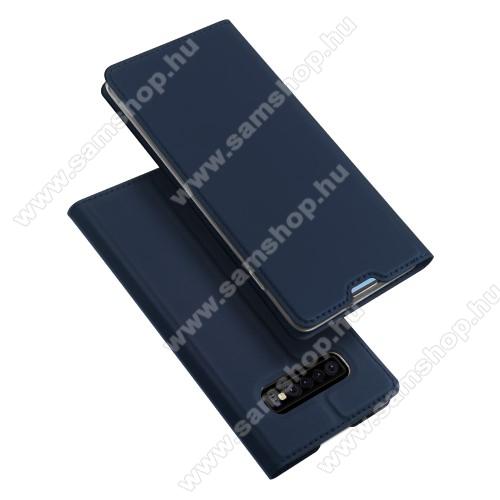 DUX DUCIS slim design notesz / mappa tok - SÖTÉTKÉK - oldalra nyíló flip cover, asztali tartó funkció, szilikon belső, mágneses záródás - SAMSUNG SM-G975F Galaxy S10+ - GYÁRI