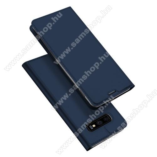 DUX DUCIS slim design notesz / mappa tok - SÖTÉTKÉK - oldalra nyíló flip cover, asztali tartó funkció, szilikon belső, mágneses záródás - SAMSUNG SM-G970F Galaxy S10e - GYÁRI