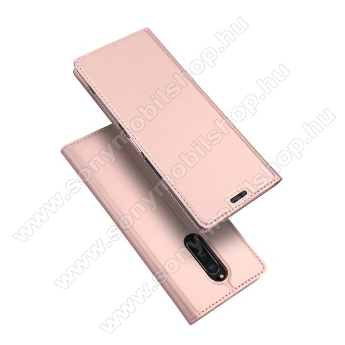 DUX DUCIS slim design notesz / mappa tok - ROSE GOLD - oldalra nyíló flip cover, asztali tartó funkció, szilikon belső, mágneses záródás - SONY Xperia 1 - GYÁRI