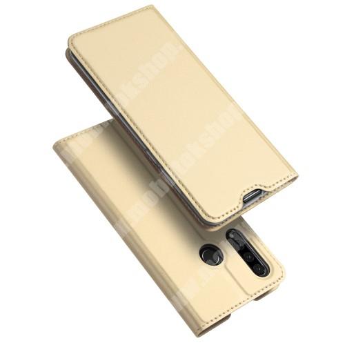 DUX DUCIS slim design notesz / mappa tok - ARANY - oldalra nyíló flip cover, asztali tartó funkció, szilikon belső, mágneses záródás - HUAWEI P30 Lite / HUAWEI nova 4e - GYÁRI