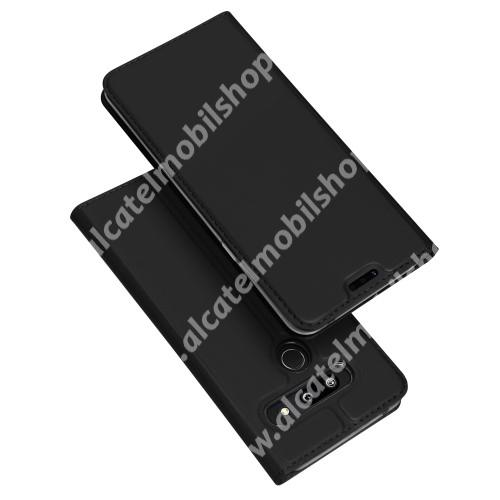 DUX DUCIS slim design notesz / mappa tok - FEKETE - oldalra nyíló flip cover, asztali tartó funkció, szilikon belső, mágneses záródás - LG G8 ThinQ Dual kamerás / LG G8 ThinQ Tripla kamerás - GYÁRI