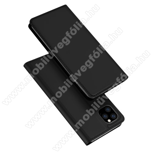 DUX DUCIS slim design notesz / mappa tok - FEKETE - oldalra nyíló flip cover, asztali tartó funkció, szilikon belső, mágneses záródás - APPLE iPhone 11 Pro - GYÁRI
