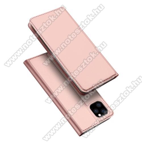 DUX DUCIS slim design notesz / mappa tok - ROSE GOLD - oldalra nyíló flip cover, asztali tartó funkció, szilikon belső, mágneses záródás - APPLE iPhone 11 Pro - GYÁRI
