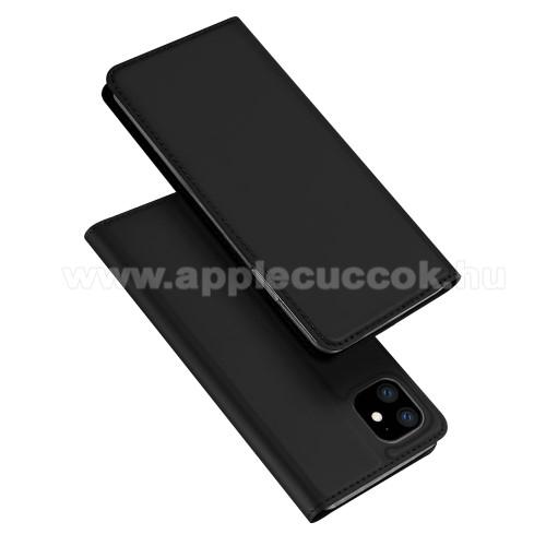 DUX DUCIS slim design notesz / mappa tok - FEKETE - oldalra nyíló flip cover, asztali tartó funkció, szilikon belső, mágneses záródás - APPLE iPhone 11 - GYÁRI