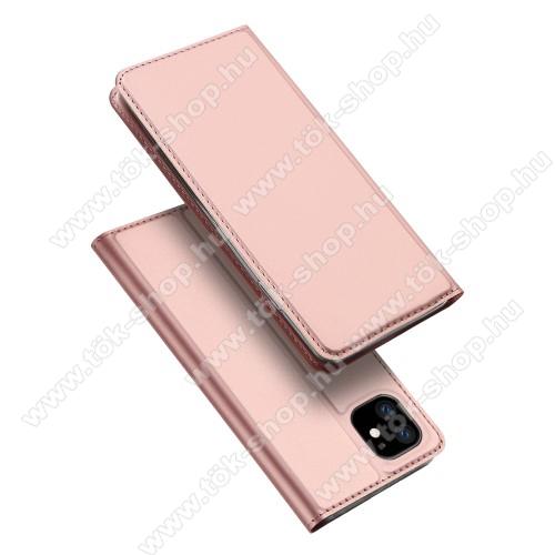 DUX DUCIS slim design notesz / mappa tok - ROSE GOLD - oldalra nyíló flip cover, asztali tartó funkció, szilikon belső, mágneses záródás - APPLE iPhone 11 - GYÁRI