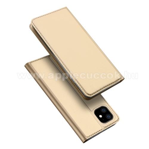 DUX DUCIS slim design notesz / mappa tok - ARANY - oldalra nyíló flip cover, asztali tartó funkció, szilikon belső, mágneses záródás - APPLE iPhone 11 - GYÁRI