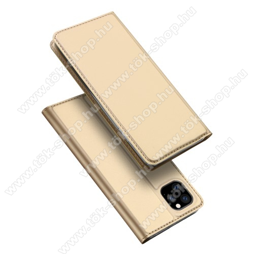 DUX DUCIS slim design notesz / mappa tok - ARANY - oldalra nyíló flip cover, asztali tartó funkció, szilikon belső, mágneses záródás - APPLE iPhone 11 Pro Max - GYÁRI