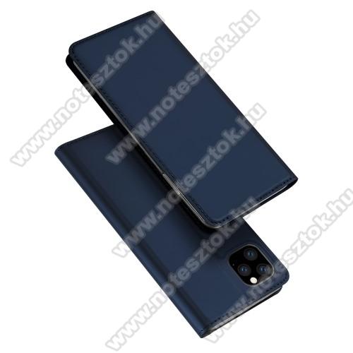 DUX DUCIS slim design notesz / mappa tok - SÖTÉTKÉK - oldalra nyíló flip cover, asztali tartó funkció, szilikon belső, mágneses záródás - APPLE iPhone 11 Pro Max - GYÁRI