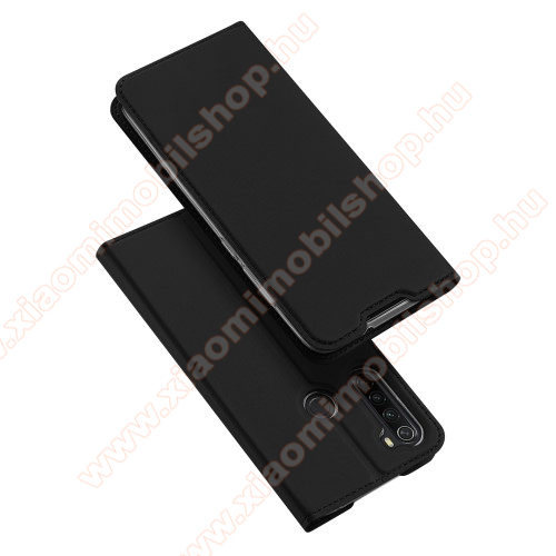 Xiaomi Redmi Note 8DUX DUCIS slim design notesz / mappa tok - FEKETE - oldalra nyíló flip cover, asztali tartó funkció, szilikon belső, mágneses záródás - Xiaomi Redmi Note 8 - GYÁRI