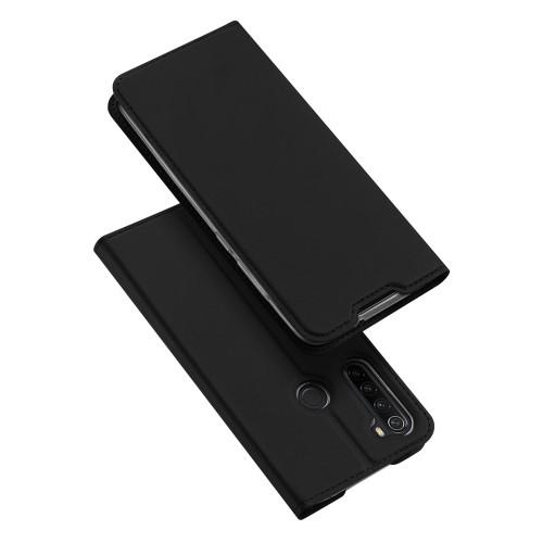 DUX DUCIS slim design notesz / mappa tok - FEKETE - oldalra nyíló flip cover, asztali tartó funkció, szilikon belső, mágneses záródás - Xiaomi Redmi Note 8 - GYÁRI