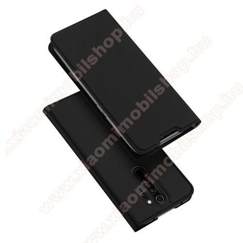DUX DUCIS slim design notesz / mappa tok - FEKETE - oldalra nyíló flip cover, asztali tartó funkció, szilikon belső, mágneses záródás - Xiaomi Redmi Note 8 Pro - GYÁRI