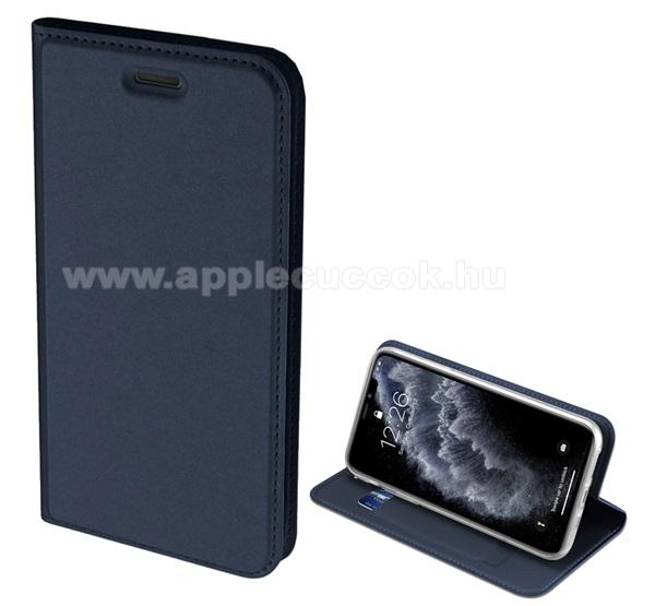 DUX DUCIS slim design notesz / mappa tok - SÖTÉTKÉK - oldalra nyíló flip cover, asztali tartó funkció, szilikon belső, mágneses záródás - Apple iPhone 11 - GYÁRI