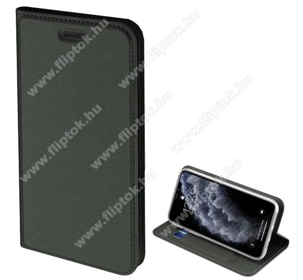 DUX DUCIS slim design notesz / mappa tok - SÖTÉTZÖLD - oldalra nyíló flip cover, asztali tartó funkció, szilikon belső, mágneses záródás - Apple iPhone 11 Pro - GYÁRI