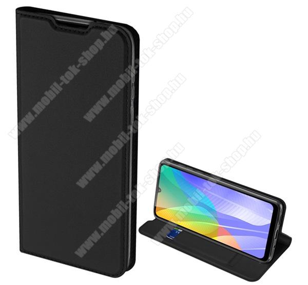 DUX DUCIS slim design notesz / mappa tok - FEKETE - oldalra nyíló flip cover, asztali tartó funkció, szilikon belső, rejtett mágneses záródás - HUAWEI Y6p - GYÁRI