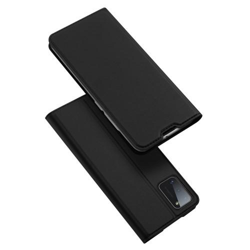 DUX DUCIS slim design notesz / mappa tok - FEKETE - oldalra nyíló flip cover, asztali tartó funkció, szilikon belső, mágneses záródás - SAMSUNG Galaxy A41 (SM-A415F) - GYÁRI