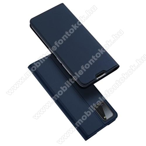 DUX DUCIS slim design notesz / mappa tok - SÖTÉTKÉK - oldalra nyíló flip cover, asztali tartó funkció, szilikon belső, mágneses záródás - SAMSUNG Galaxy A41 (SM-A415F) - GYÁRI