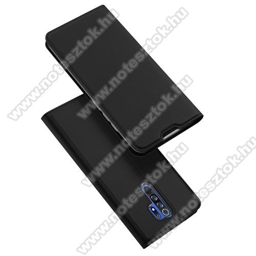 DUX DUCIS slim design notesz / mappa tok - FEKETE - oldalra nyíló flip cover, asztali tartó funkció, szilikon belső, mágneses záródás - Xiaomi Redmi 9 - GYÁRI
