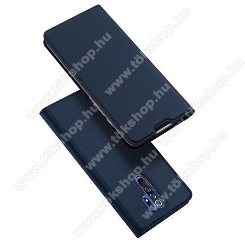 DUX DUCIS slim design notesz / mappa tok - SÖTÉTKÉK - oldalra nyíló flip cover, asztali tartó funkció, szilikon belső, mágneses záródás - Xiaomi Redmi 9 - GYÁRI