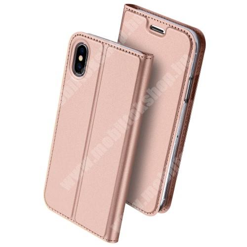 APPLE iPhone XS DUX DUCIS slim design notesz / mappa tok - ROSE GOLD - oldalra nyíló flip cover, asztali tartó funkció, szilikon belső, mágneses záródás - APPLE iPhone X / APPLE iPhone XS - GYÁRI