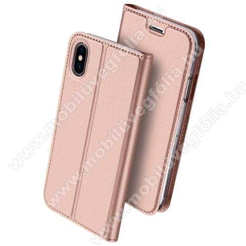 DUX DUCIS slim design notesz / mappa tok - ROSE GOLD - oldalra nyíló flip cover, asztali tartó funkció, szilikon belső, mágneses záródás - APPLE iPhone X / APPLE iPhone XS - GYÁRI