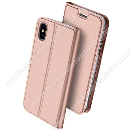 APPLE iPhone XSDUX DUCIS slim design notesz / mappa tok - ROSE GOLD - oldalra nyíló flip cover, asztali tartó funkció, szilikon belső, mágneses záródás - APPLE iPhone X / APPLE iPhone XS - GYÁRI