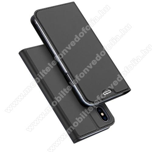 DUX DUCIS slim design notesz / mappa tok - SÖTÉT SZÜRKE - oldalra nyíló flip cover, asztali tartó funkció, szilikon belső, mágneses záródás - APPLE iPhone X / APPLE iPhone XS - GYÁRI