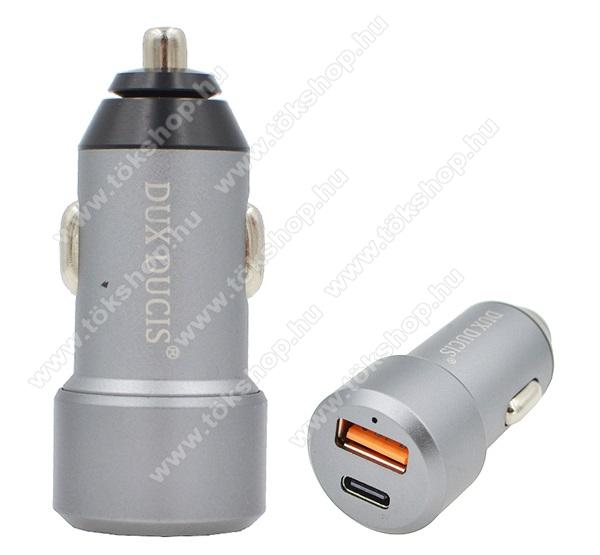 DUX DUCIS szivargyújtós töltő / autós töltő - USB + Type-C aljzat, 5V / 3000mA, 24W, QC 3.0, PD gyorstöltés támogatás, kábel NÉLKÜL! - SZÜRKE - B30 - GYÁRI