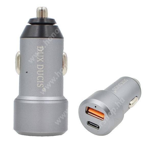 HUAWEI Honor V40 5G DUX DUCIS szivargyújtós töltő / autós töltő - USB + Type-C aljzat, 5V / 3000mA, 24W, QC 3.0, PD gyorstöltés támogatás, kábel NÉLKÜL! - SZÜRKE - B30 - GYÁRI