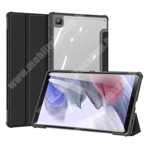 DUX DUCIS TOBY Series notesz / mappa tok - FEKETE - átlátszó hátlap, oldalra nyíló flip cover, TRIFOLD asztali tartó funkciós, PU bőrrel bevont, mágneses záródás, szilikon belső - SAMSUNG Galaxy Tab A7 Lite (SM-T220 / SM-T225) - GYÁRI