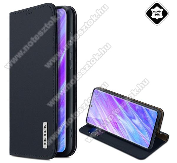DUX DUCIS WISH design notesz / mappa tok - FEKETE - valódi bőr, oldalra nyíló flip cover, asztali tartó funkció, szilikon belső - SAMSUNG Galaxy S20 Plus (SM-G985F) / SAMSUNG Galaxy S20 Plus 5G (SM-G986) - GYÁRI