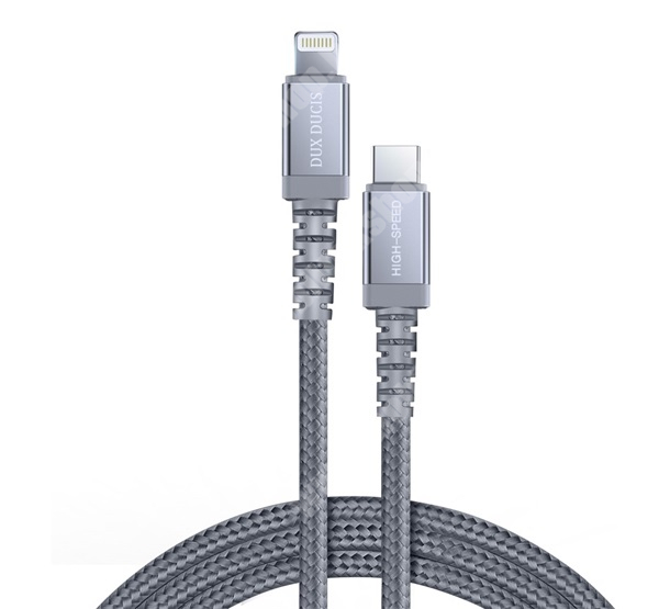 DUX DUCIS X2 adatátviteli kábel / USB töltő - USB 3.1 Type C / Apple Lightning csatlakozás - 3A, 120cm hosszú, PD gyorstöltés támogatás, MFI engedélyes - SZÜRKE - GYÁRI