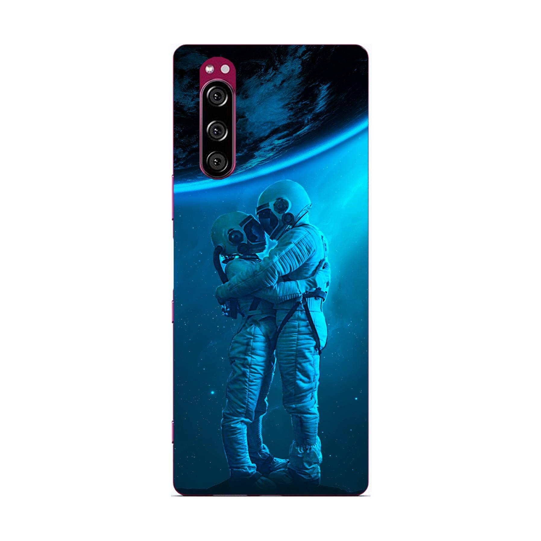 E-pic szilikon védő tok / hátlap - Szerelmes űrhajós pár mintás - SONY Xperia 5
