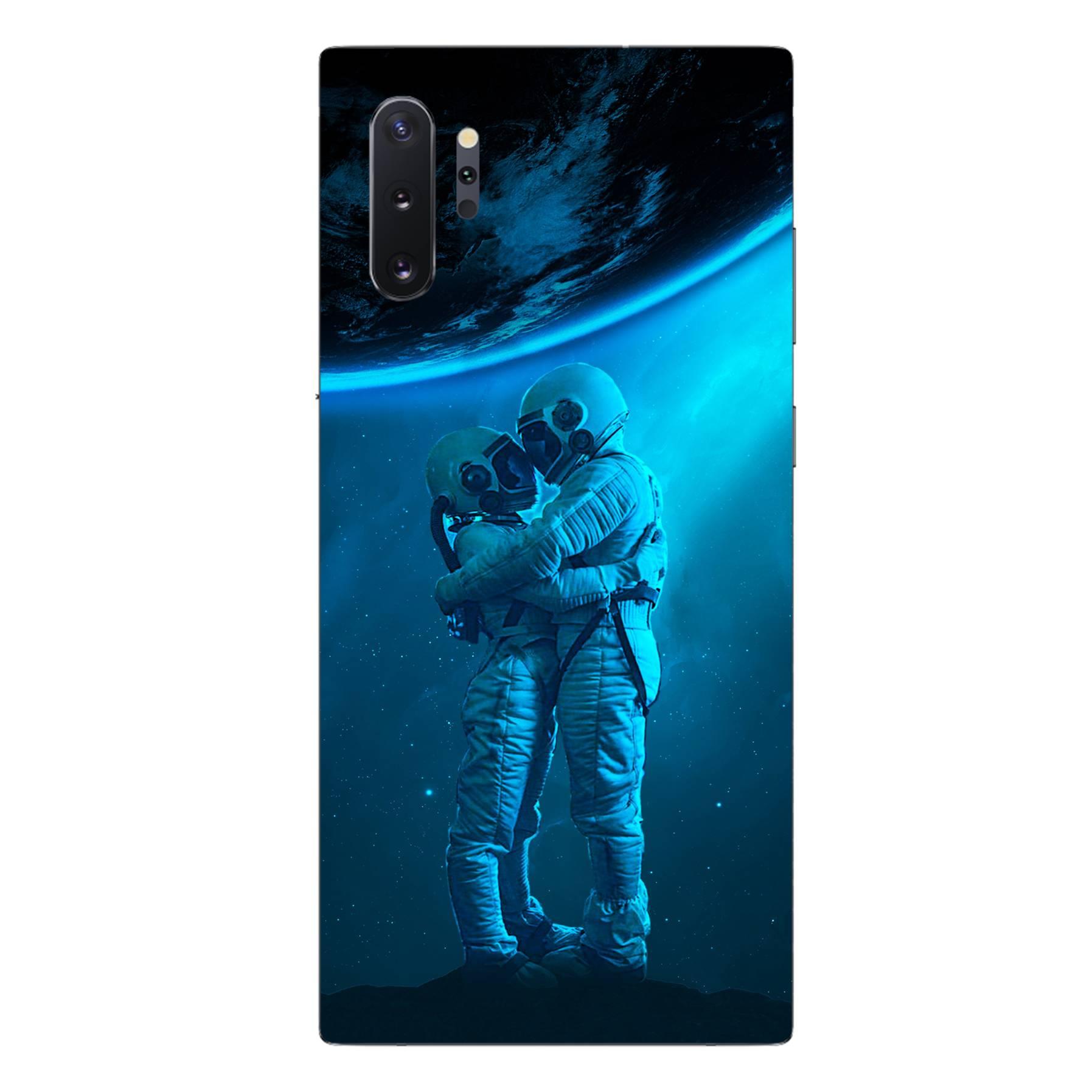 E-pic szilikon védő tok / hátlap - Szerelmes űrhajós pár mintás - SAMSUNG Galaxy Note10+ (SM-N975F)