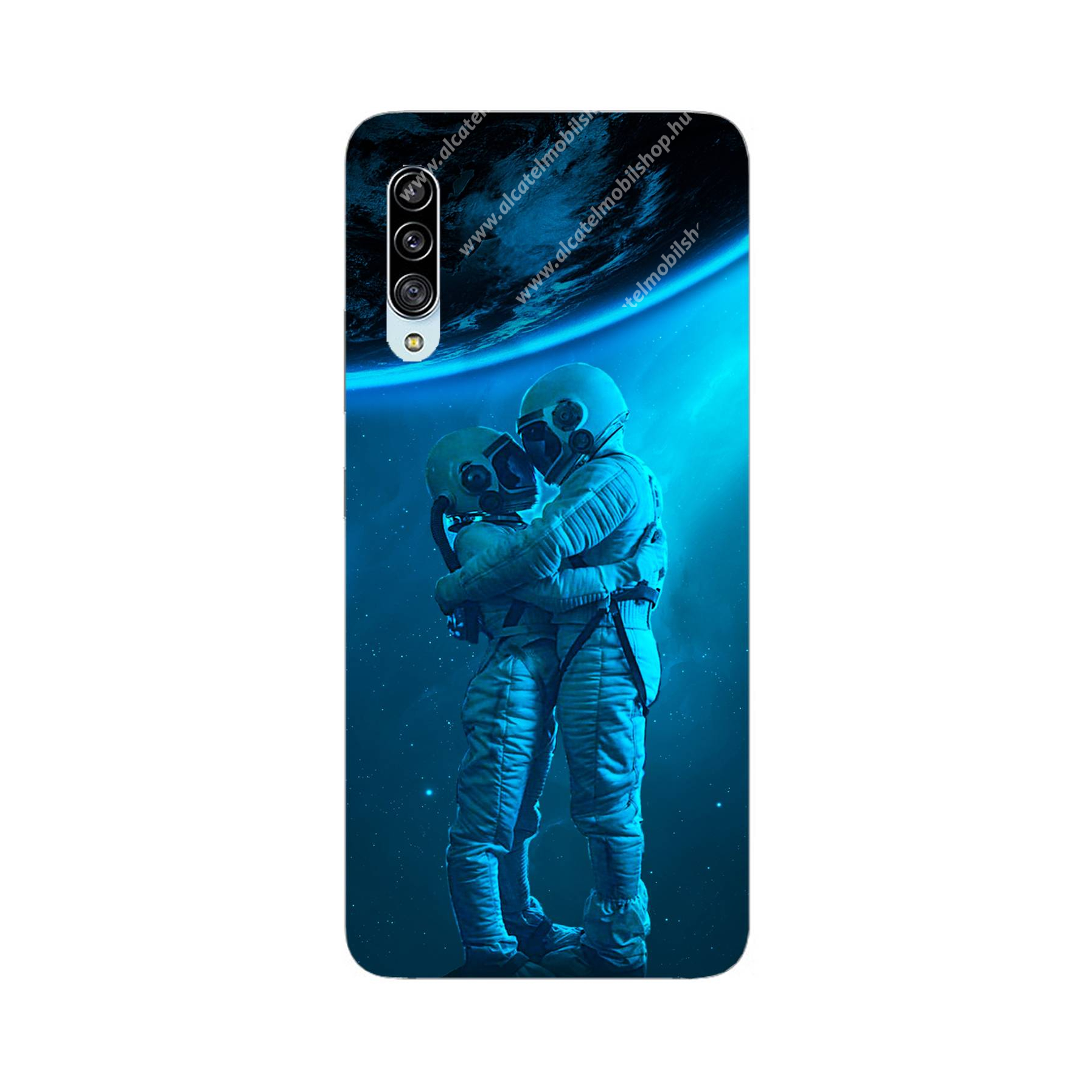 E-pic szilikon védő tok / hátlap - Szerelmes űrhajós pár mintás - SAMSUNG Galaxy A90 5G (SM-A908F)
