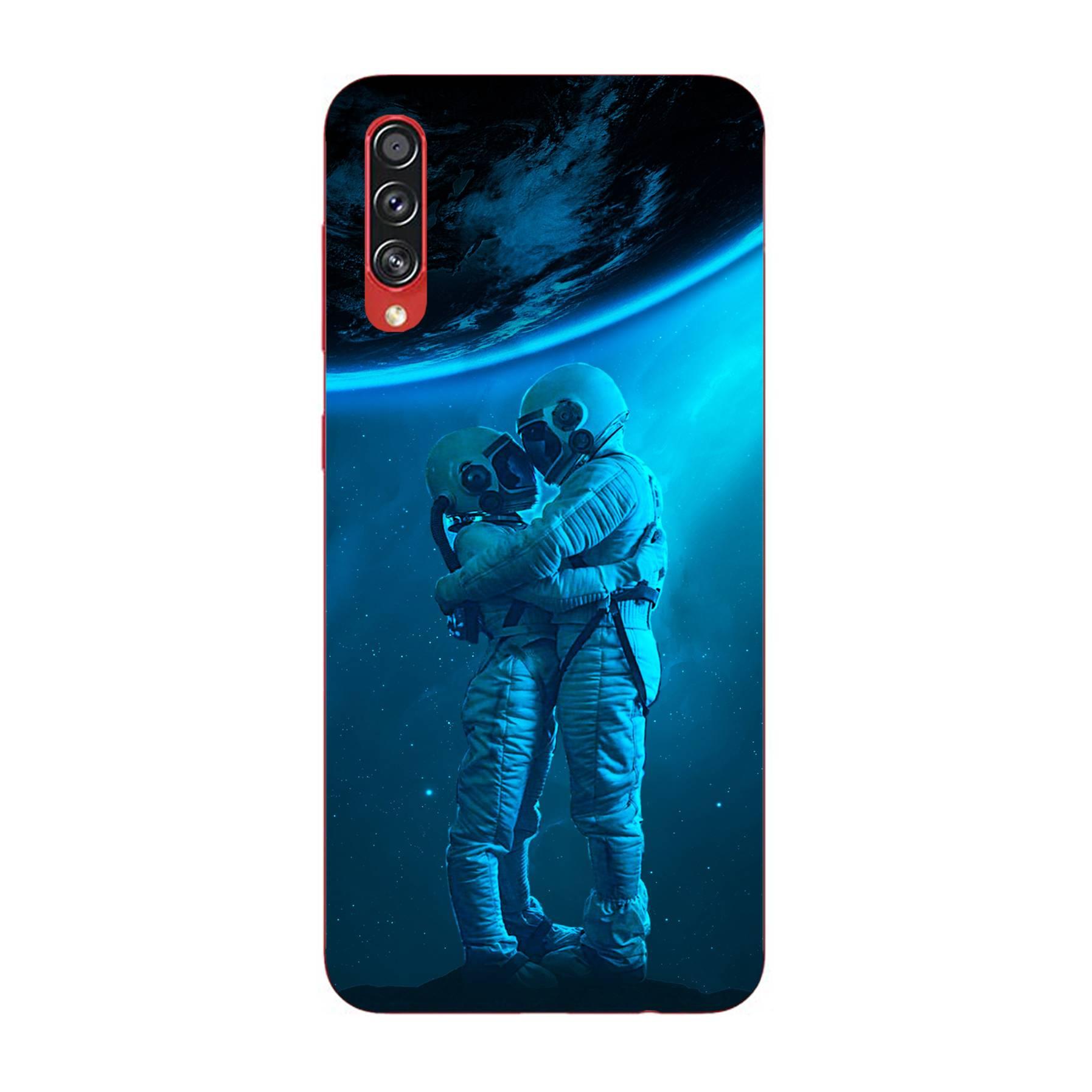 E-pic szilikon védő tok / hátlap - Szerelmes űrhajós pár mintás - SAMSUNG Galaxy A70s (SM-A707F)