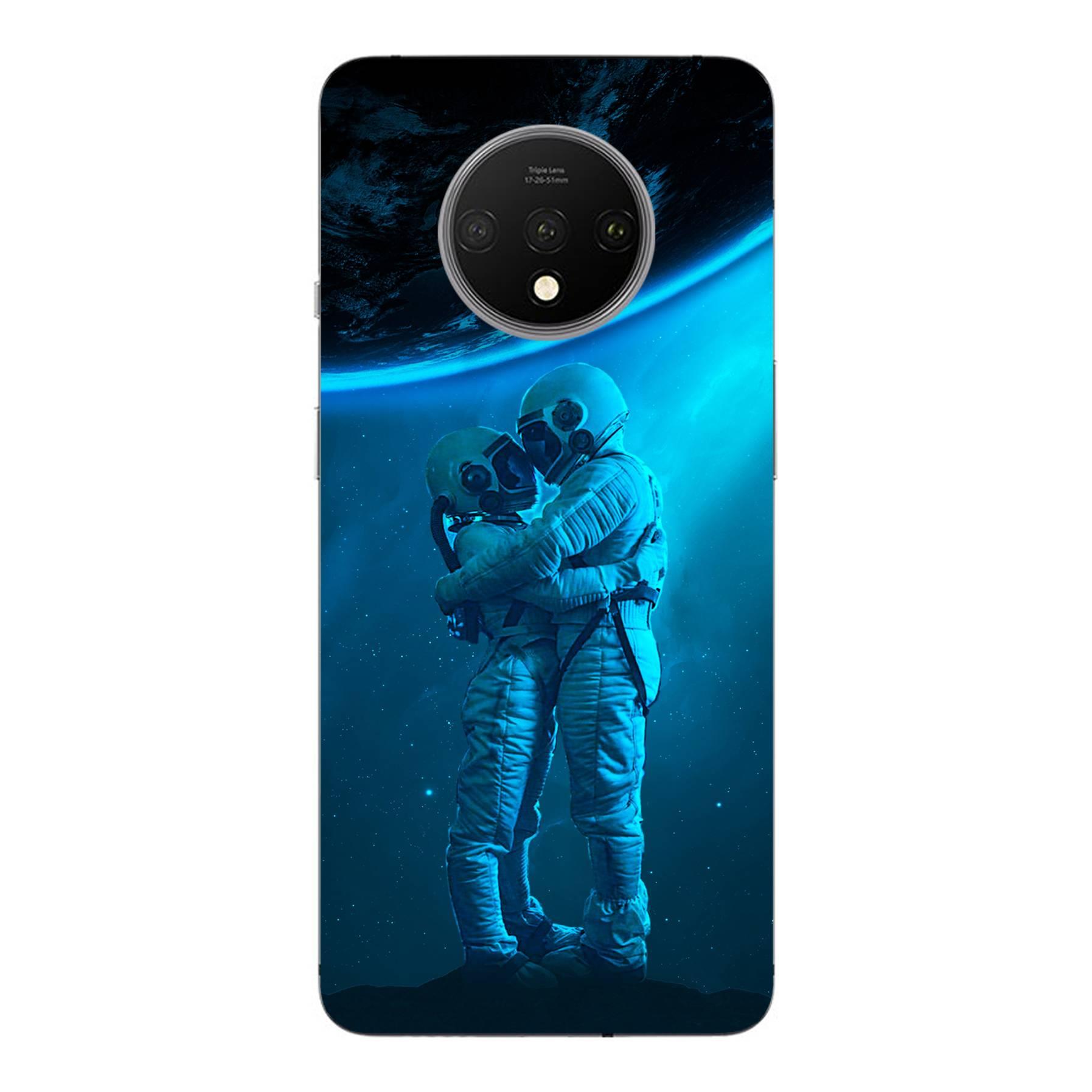E-pic szilikon védő tok / hátlap - Szerelmes űrhajós pár mintás - ONEPLUS 7T