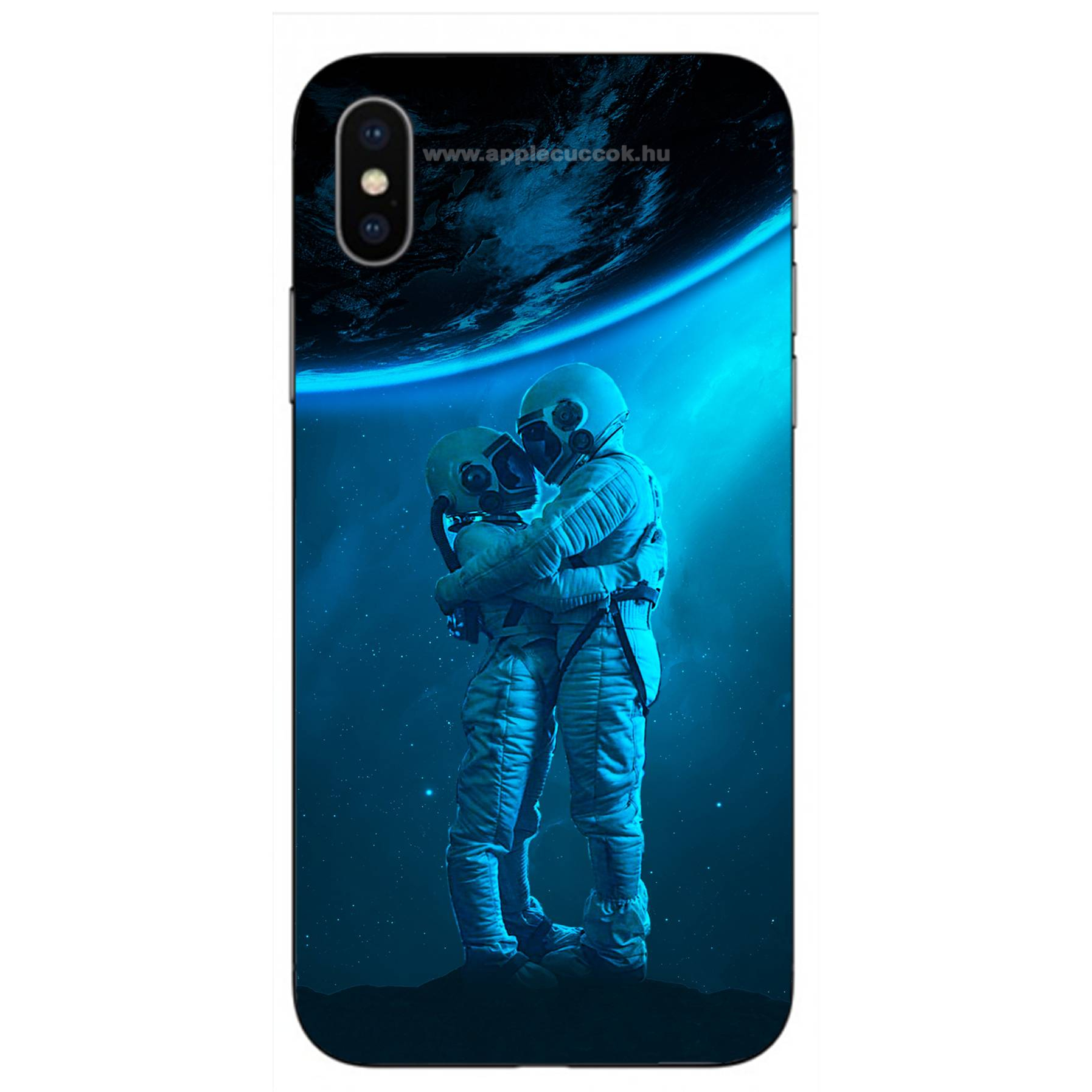 E-pic szilikon védő tok / hátlap - Szerelmes űrhajós pár mintás - APPLE iPhone X