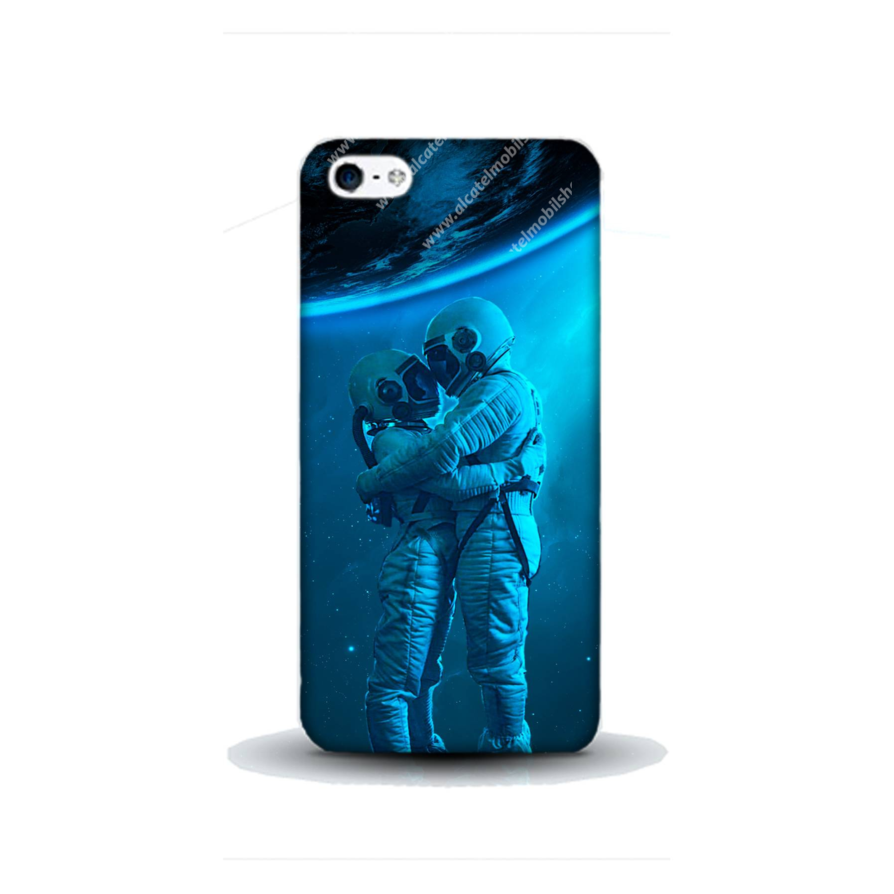 E-pic szilikon védő tok / hátlap - Szerelmes űrhajós pár mintás - APPLE iPhone SE
