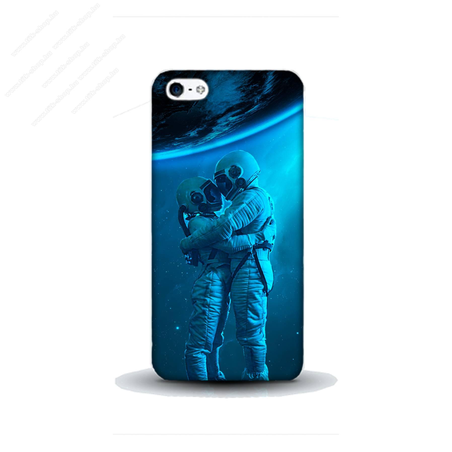 E-pic szilikon védő tok / hátlap - Szerelmes űrhajós pár mintás - APPLE IPhone 5S