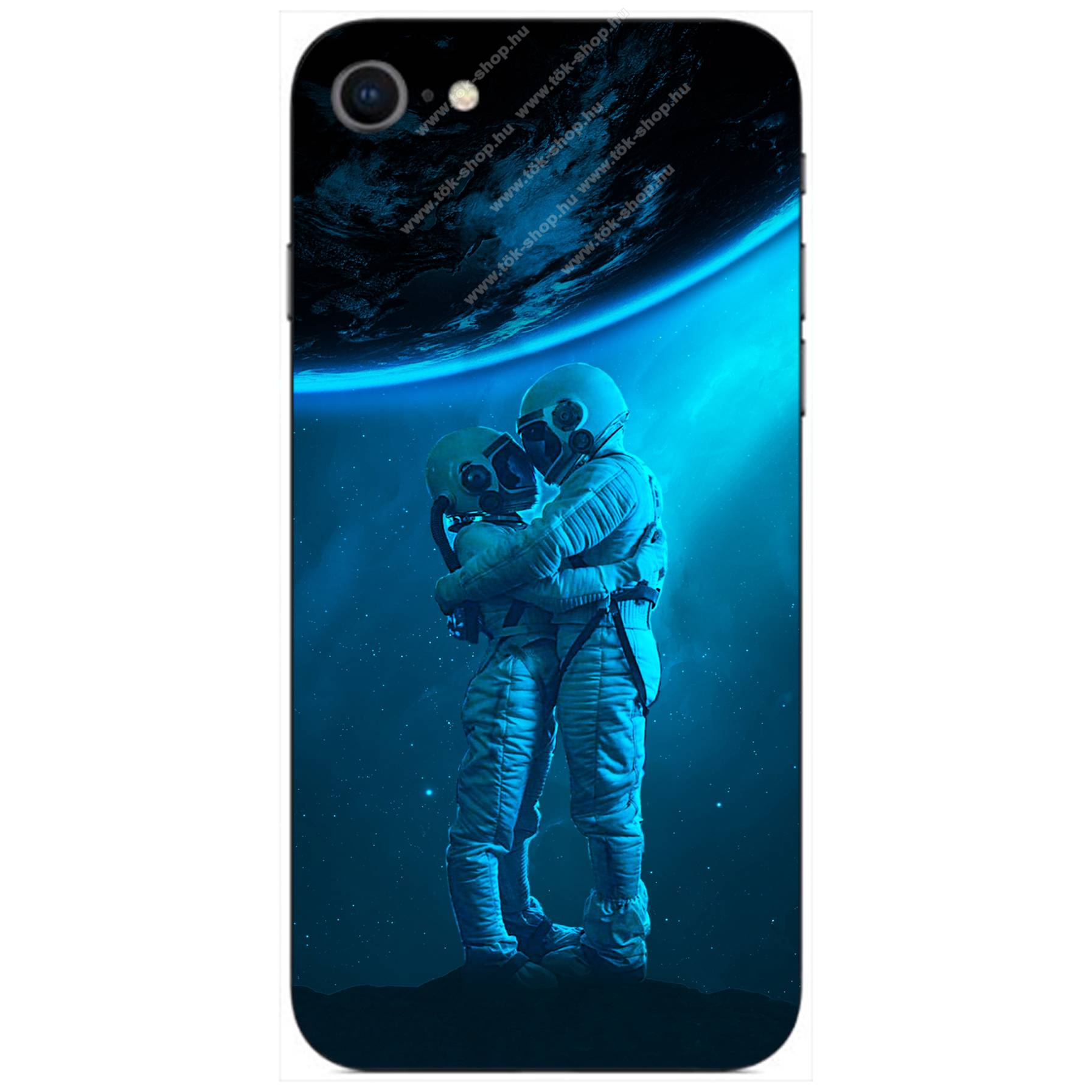 E-pic szilikon védő tok / hátlap - Szerelmes űrhajós pár mintás - APPLE iPhone 8
