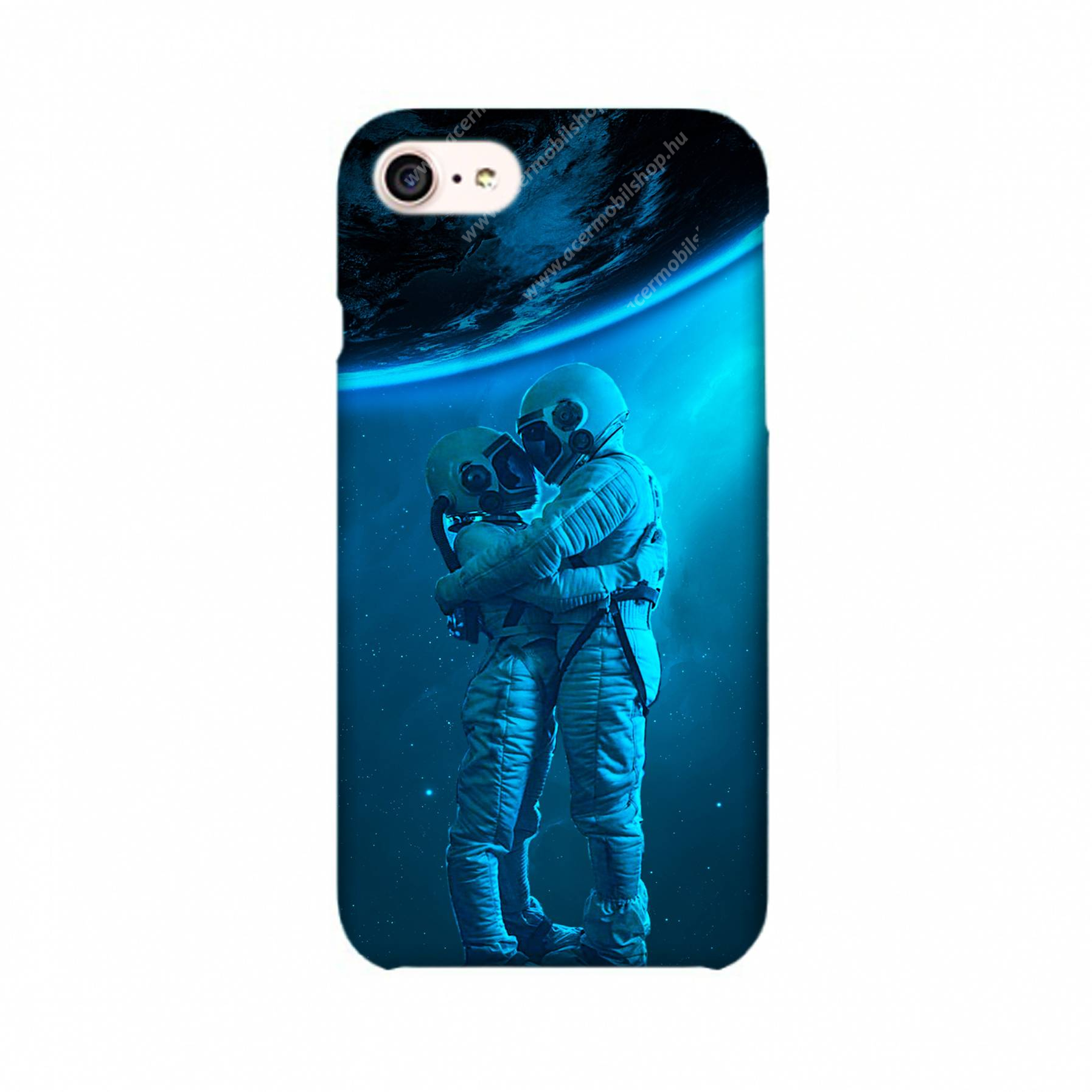 E-pic szilikon védő tok / hátlap - Szerelmes űrhajós pár mintás - APPLE iPhone 7