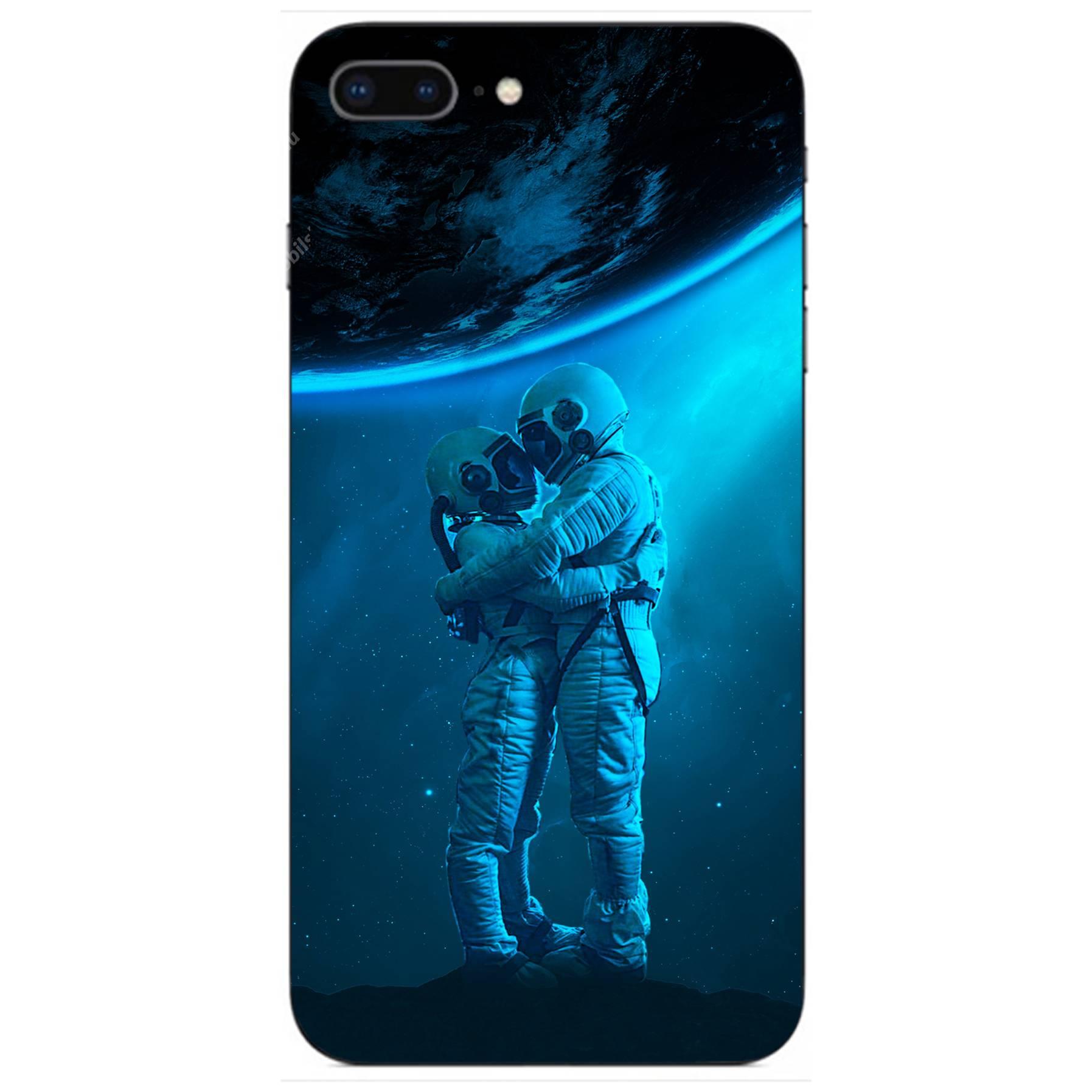 E-pic szilikon védő tok / hátlap - Szerelmes űrhajós pár mintás - APPLE iPhone 8 Plus