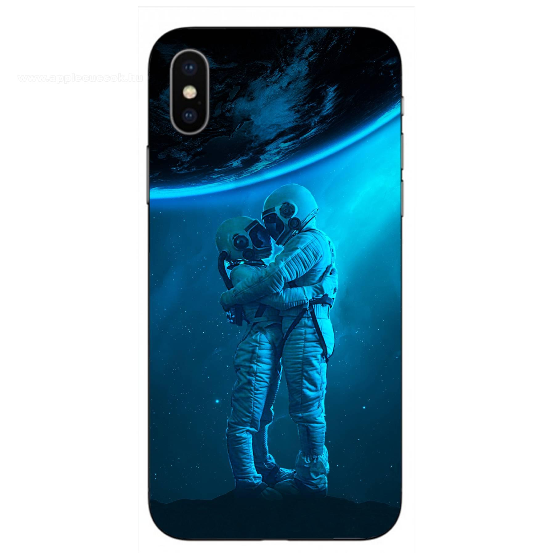 E-pic szilikon védő tok / hátlap - Szerelmes űrhajós pár mintás - APPLE iPhone XS Max