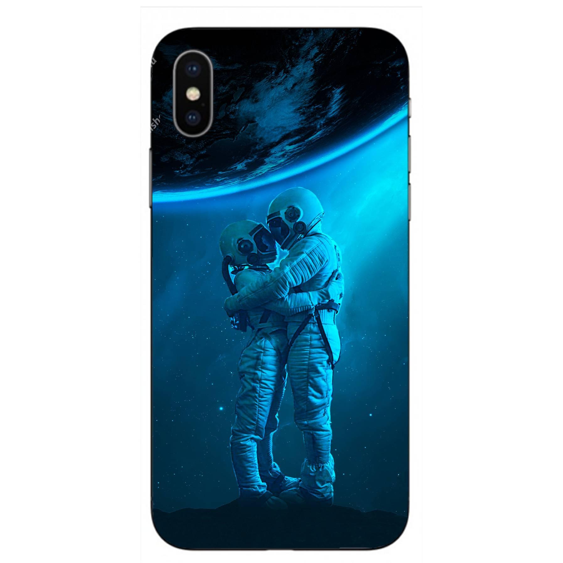 E-pic szilikon védő tok / hátlap - Szerelmes űrhajós pár mintás - APPLE iPhone XS