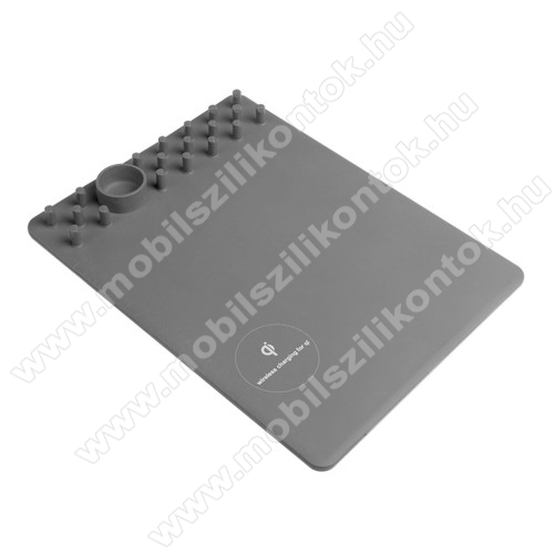 Egérpad - beépített Qi Wireless vezetéknélküli töltő és asztali tartó funkcióval - 1A - SZÜRKE